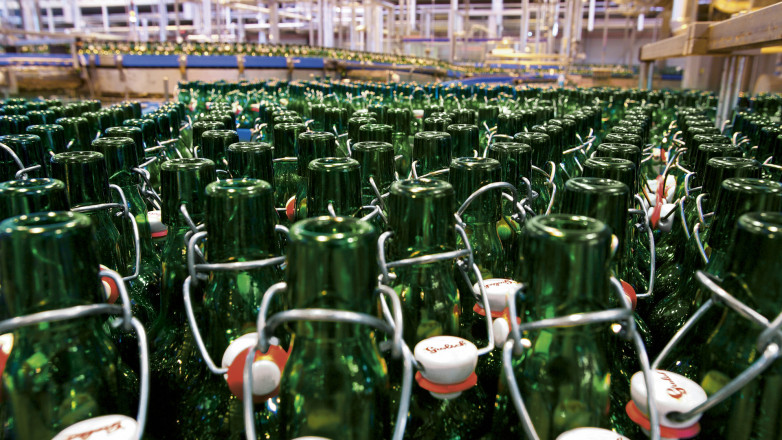 The swingtop bottles inside the Grolsch Brewery