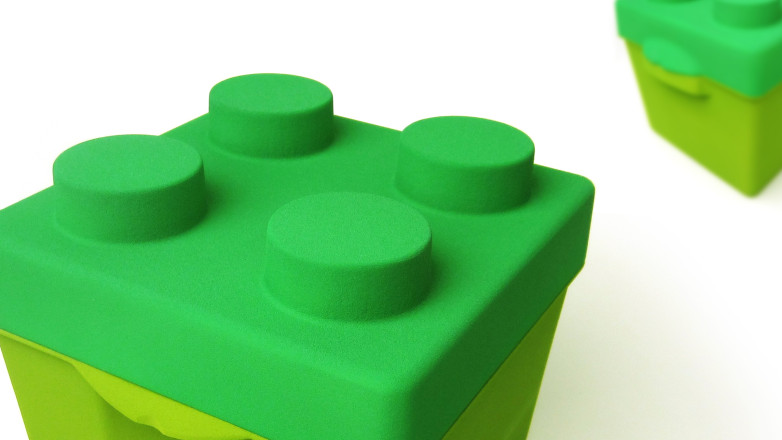 foam model of the packaging solution for Lego