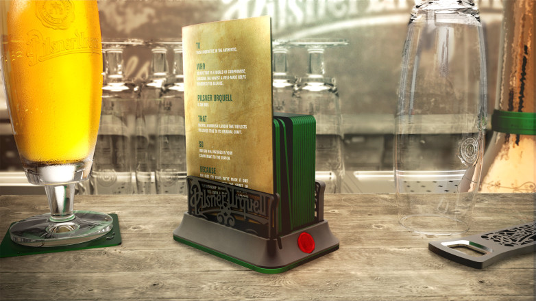 Product design for Pilsner Urquell - Coaster Holder On Bar