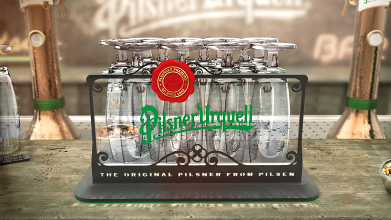Flex - Pilsner Urquell Case - Glass Tray On Bar - Frontal
