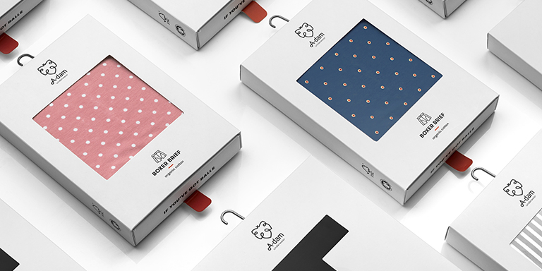 Packaging design for adam underwear that makes you smile
